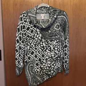 Chico's Cowl Neck Sweater Paisley/animal print